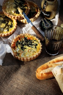 Feta and rapini tarts